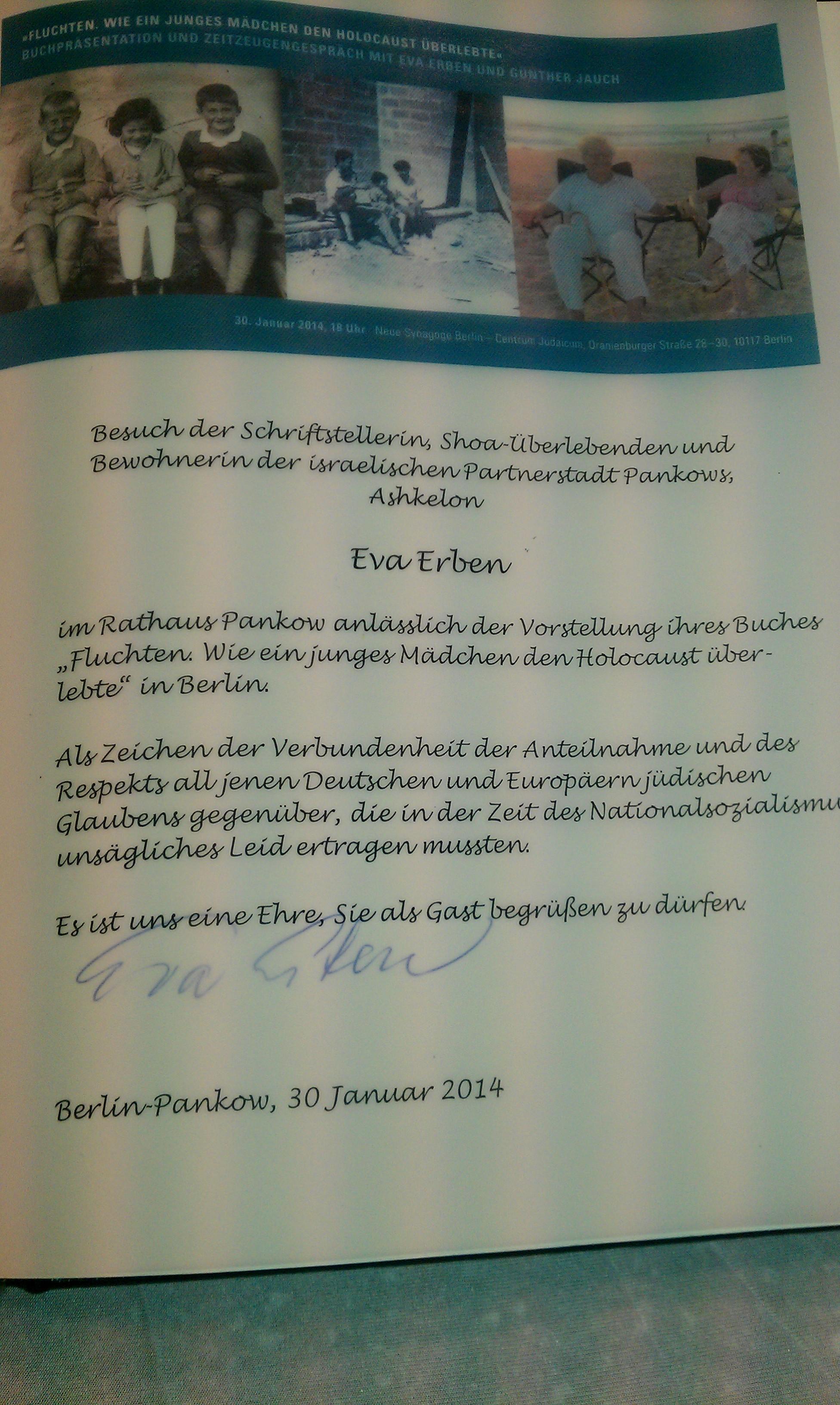 Eva Erben im Goldenen Buch von Pankow, 2014