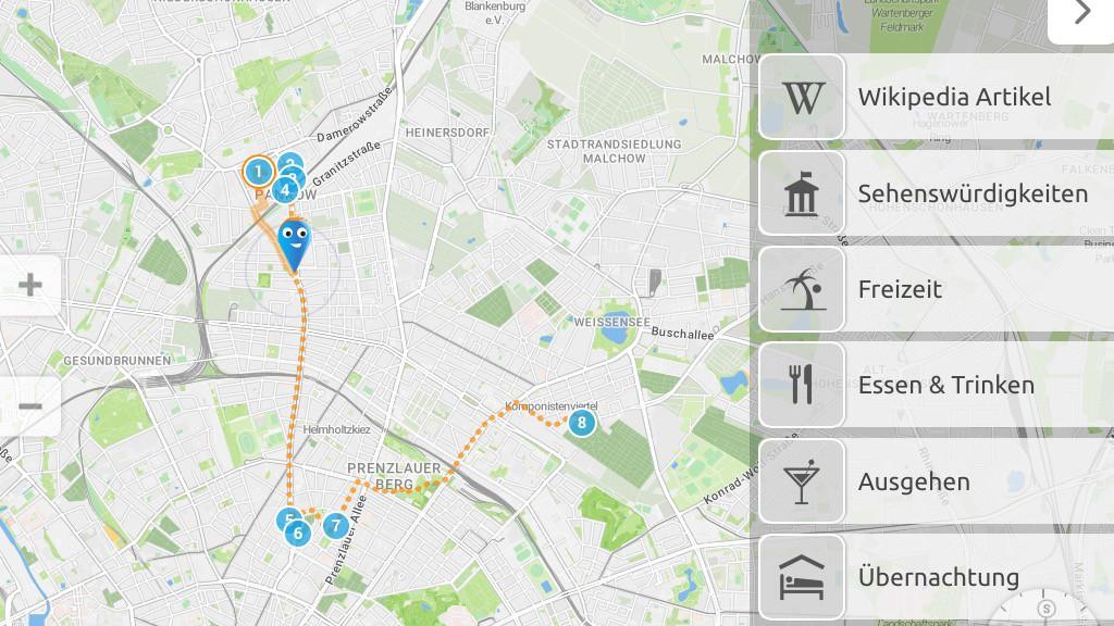 Spaziergang durch das jüdische Pankow in der iOS-App »Kenny«. ©Kenny Travel Media GmbH – Kartographie ©OpenStreetMap-Mitwirkende